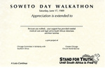 Soweto Day Walkathon Certificate of Appreciation by Chicago Committee in Solidarity with Southern Africa and Church World Service